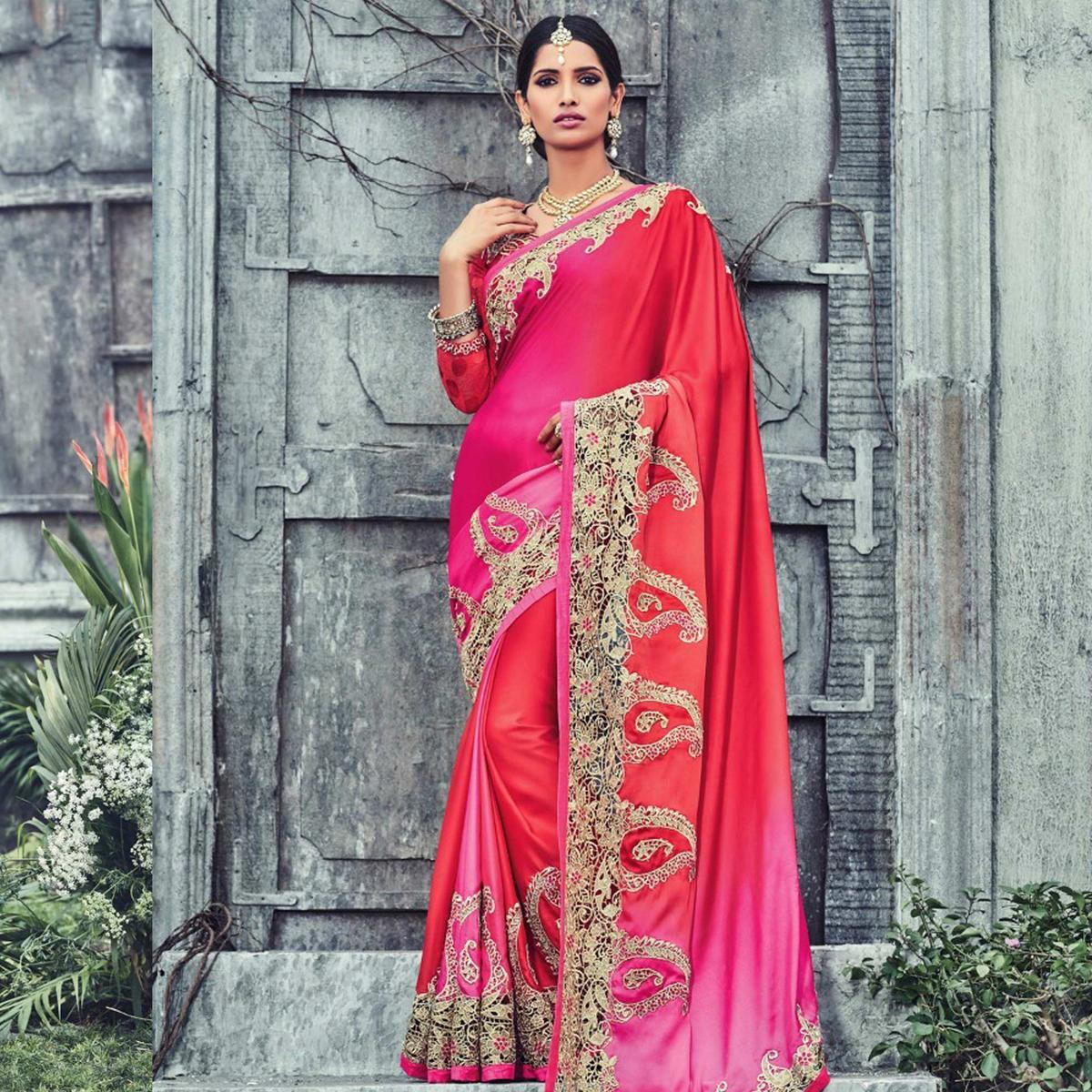 Rani - Red Satin Fabric Heavy Embroidered Work Saree