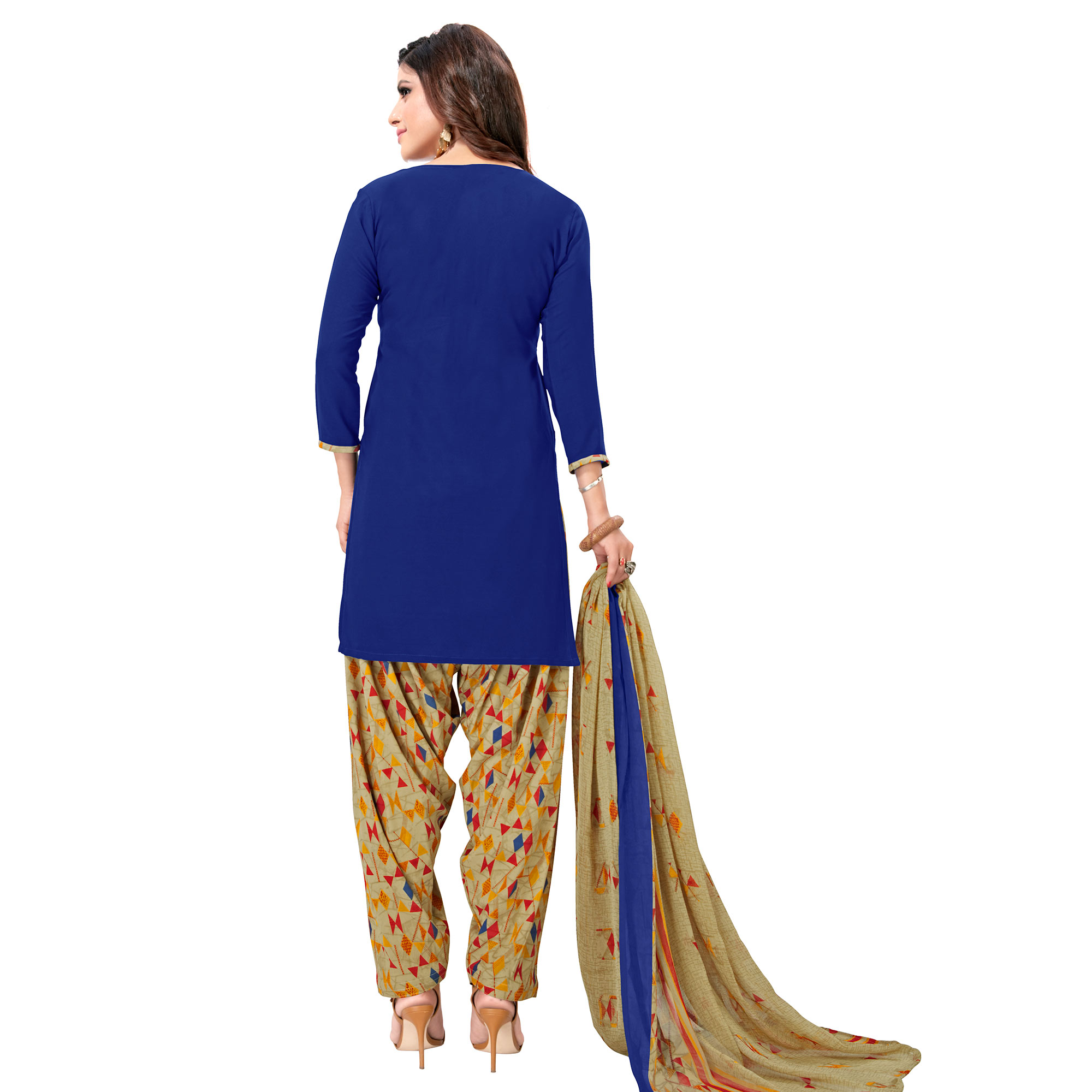 Opulent Royal Blue Colored Casual Wear Printed Crepe Patiala Suit