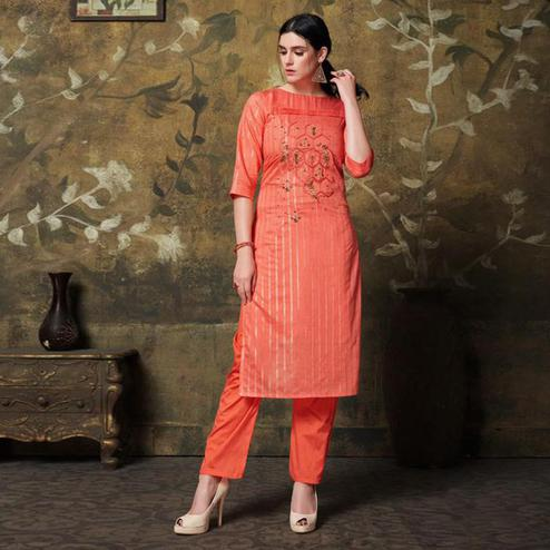 Demanding Coral Red Colored Casual Wear Embroidered Cotton Silk Kurti Palazzo Set