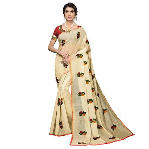 Preferable Cream Colored Partywear Embroidered Chanderi Saree