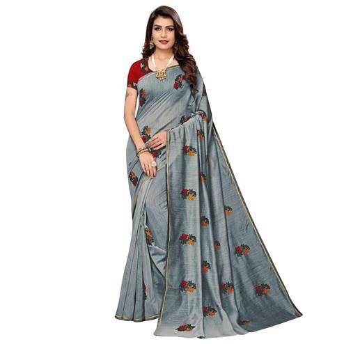 Marvellous Gray Colored Partywear Embroidered Chanderi Saree