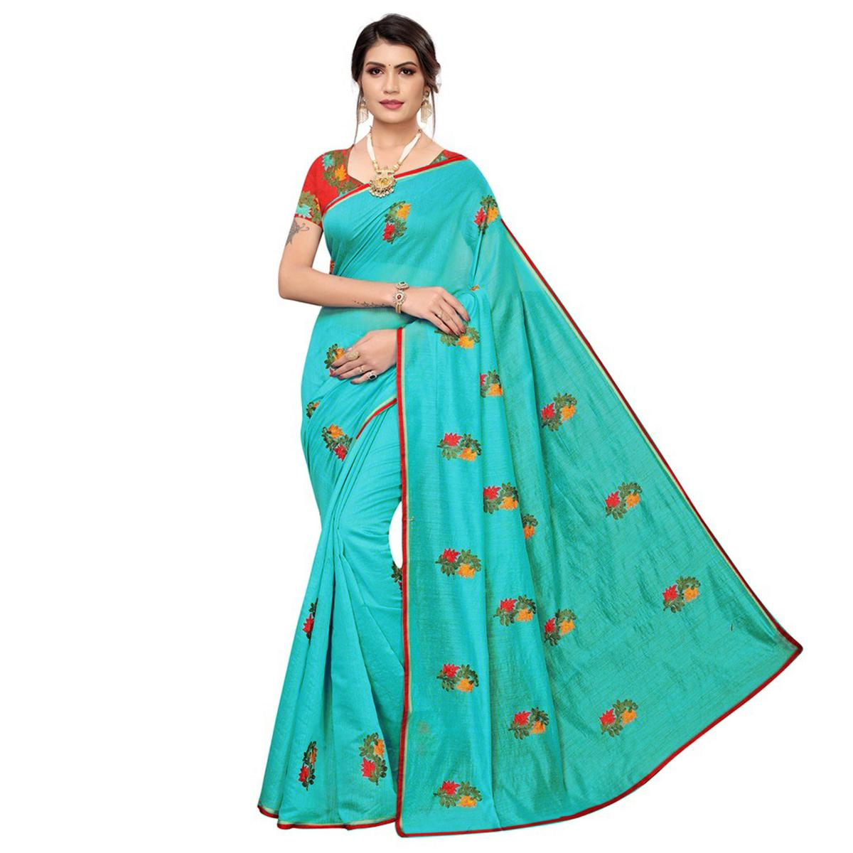 Flamboyant Blue Colored Partywear Embroidered Chanderi Saree