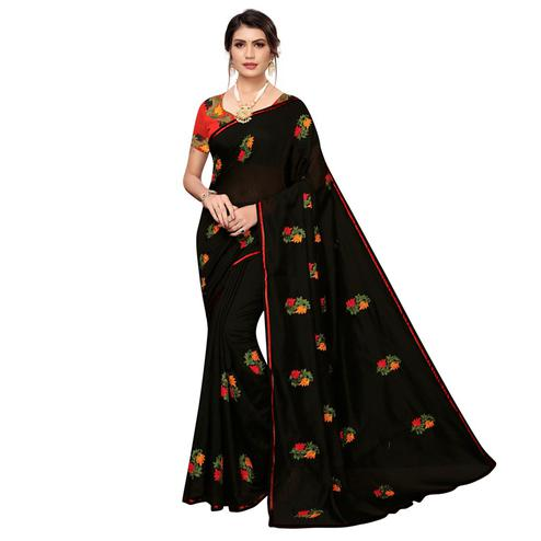 Alluring Black Colored Partywear Embroidered Chanderi Saree
