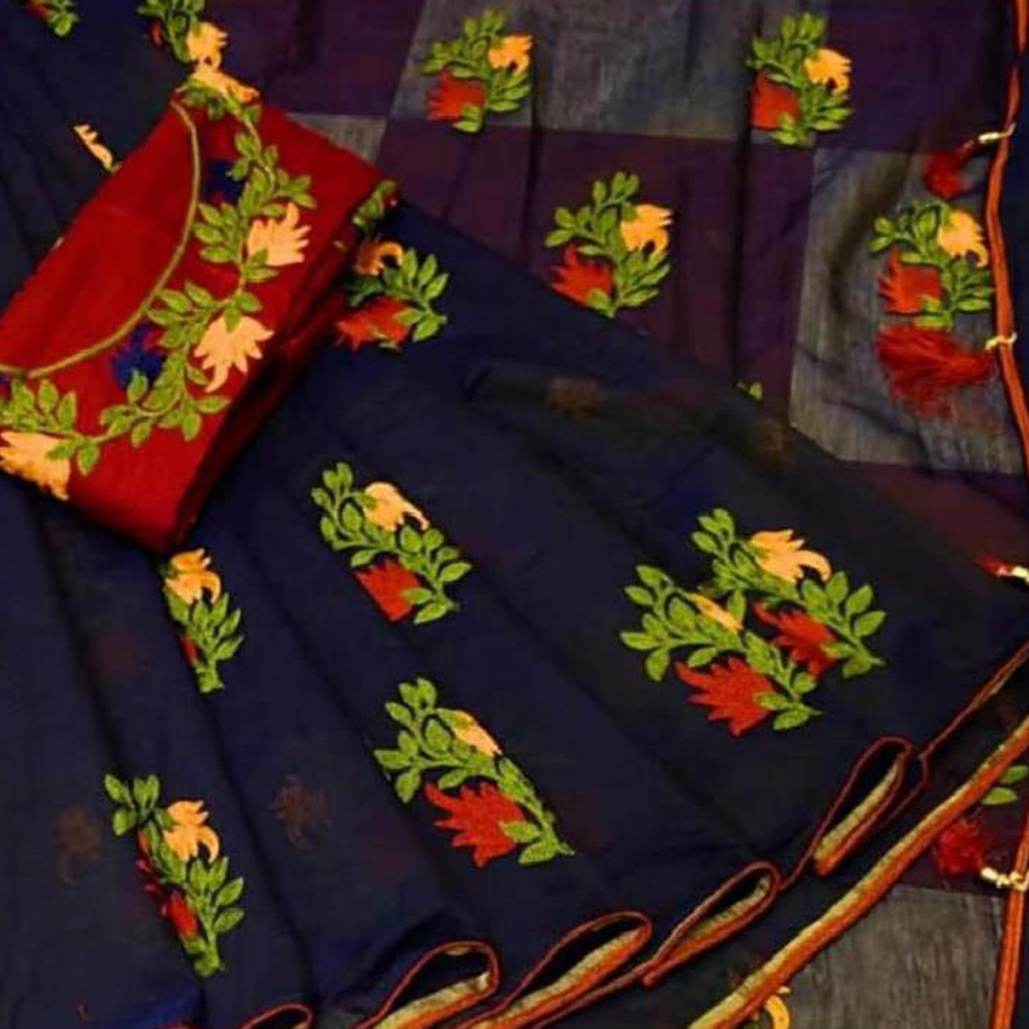 Beautiful Navy Blue Colored Partywear Embroidered Chanderi Saree