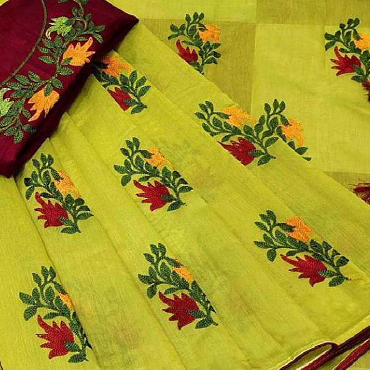 Stunning Pista Green Colored Partywear Embroidered Chanderi Saree