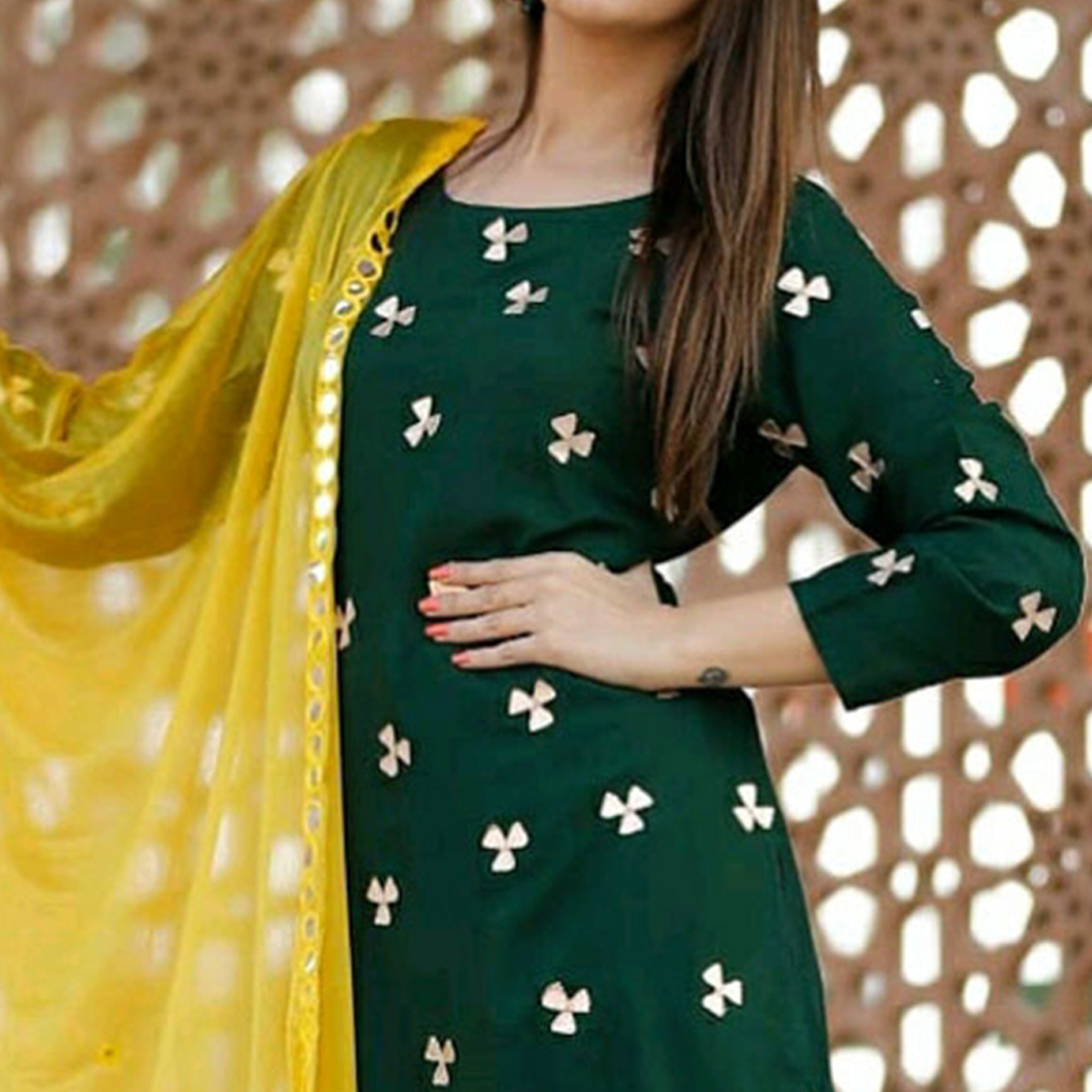 Blooming Dark Green Colored Partywear Embroidered Cotton Palazzo Suit