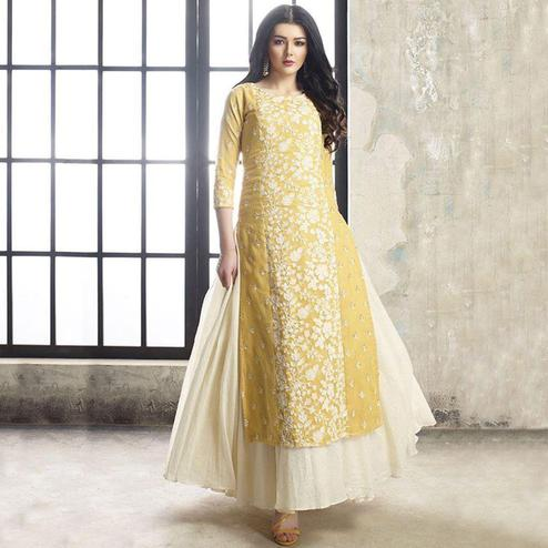 Graceful Yellow Colored Partywear Embroidered Modal Long Kurti