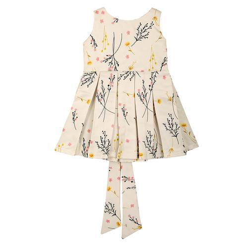 PWN Arresting White Colored Casual Floral Printed Satin Frock