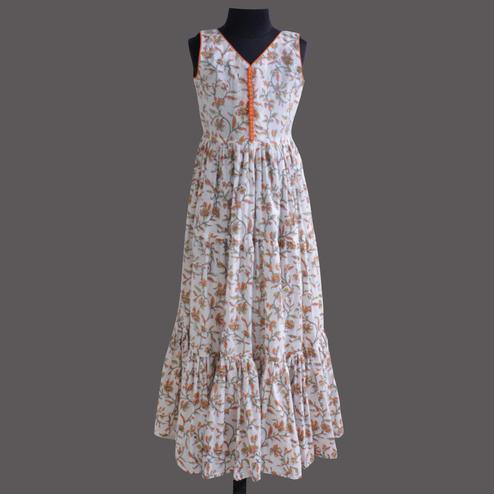 Radiant Off White Colored Partywear Floral Printed Cotton Gown