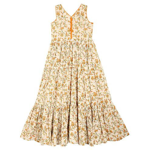 PWN Radiant Off White Colored Partywear Floral Printed Cotton Gown
