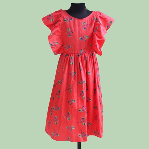 Pleasant Red Colored Partywear Floral Printed Satin Frock