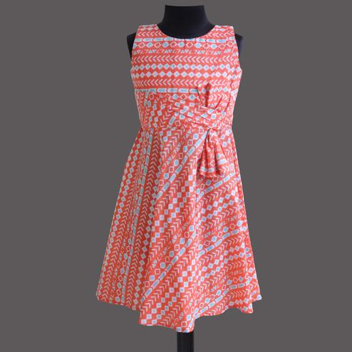 Opulent Peach Colored Partywear Geometric Printed Cotton Frock
