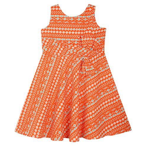 PWN Opulent Peach Colored Partywear Geometric Printed Cotton Frock
