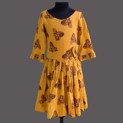 Energetic Mustard Yellow Colored Partywear Printed Cotton Frock