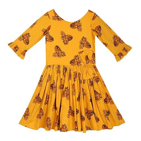 PWN Energetic Mustard Yellow Colored Partywear Printed Cotton Frock