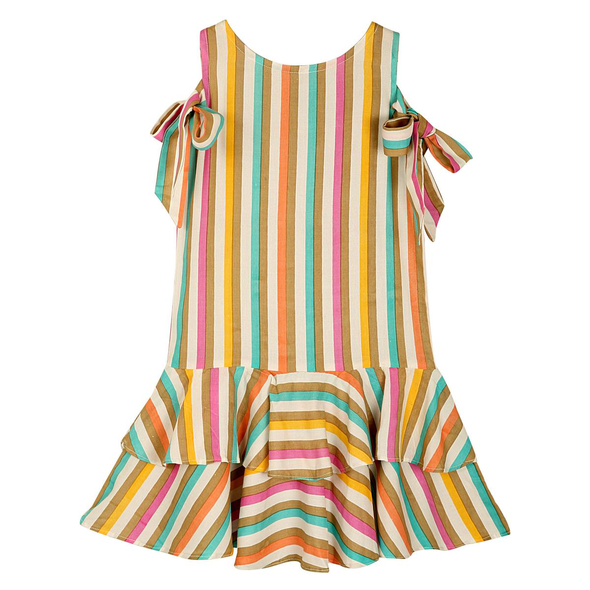 PWN Exceptional Multi Colored Partywear Printed Cotton Frock