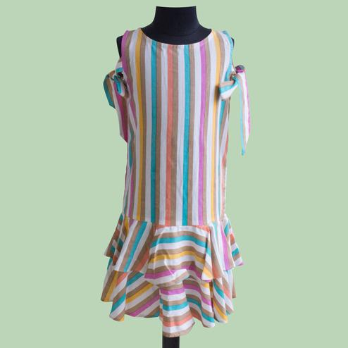 Exceptional Multi Colored Partywear Printed Cotton Frock