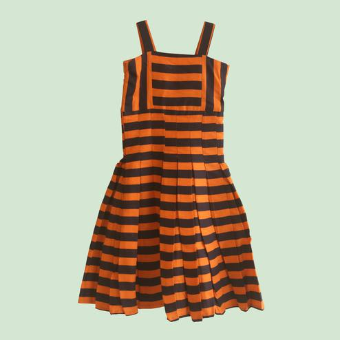 Classy Orange Colored Casual Stripes Cotton Frock