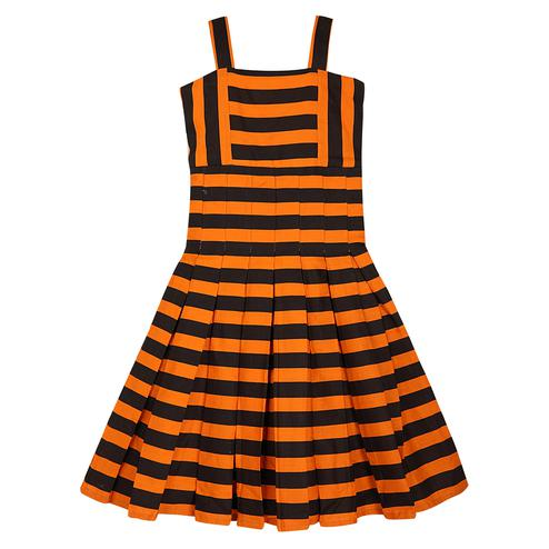 PWN Classy Orange Colored Casual Stripes Cotton Frock