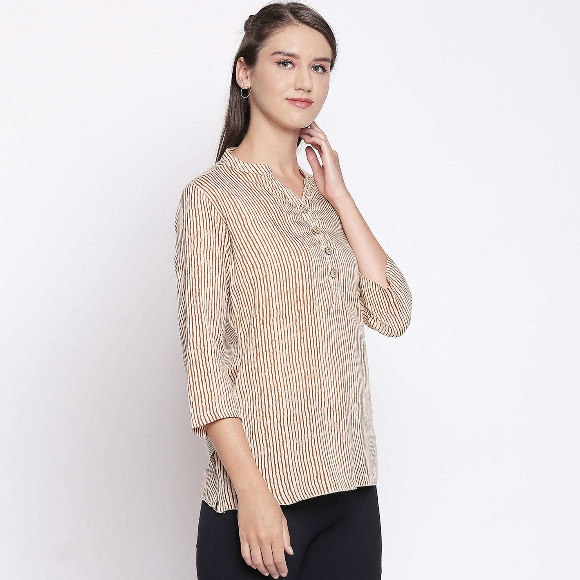 Flattering Beige-Red Colored Casual Printed Rayon Top