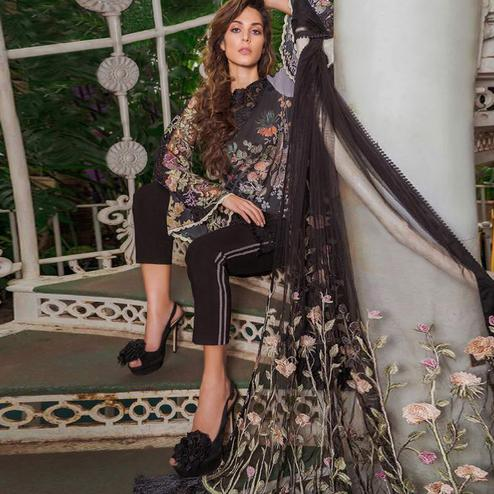 Delightful Black Colored Partywear Embroidered Cotton Pant Style Suit