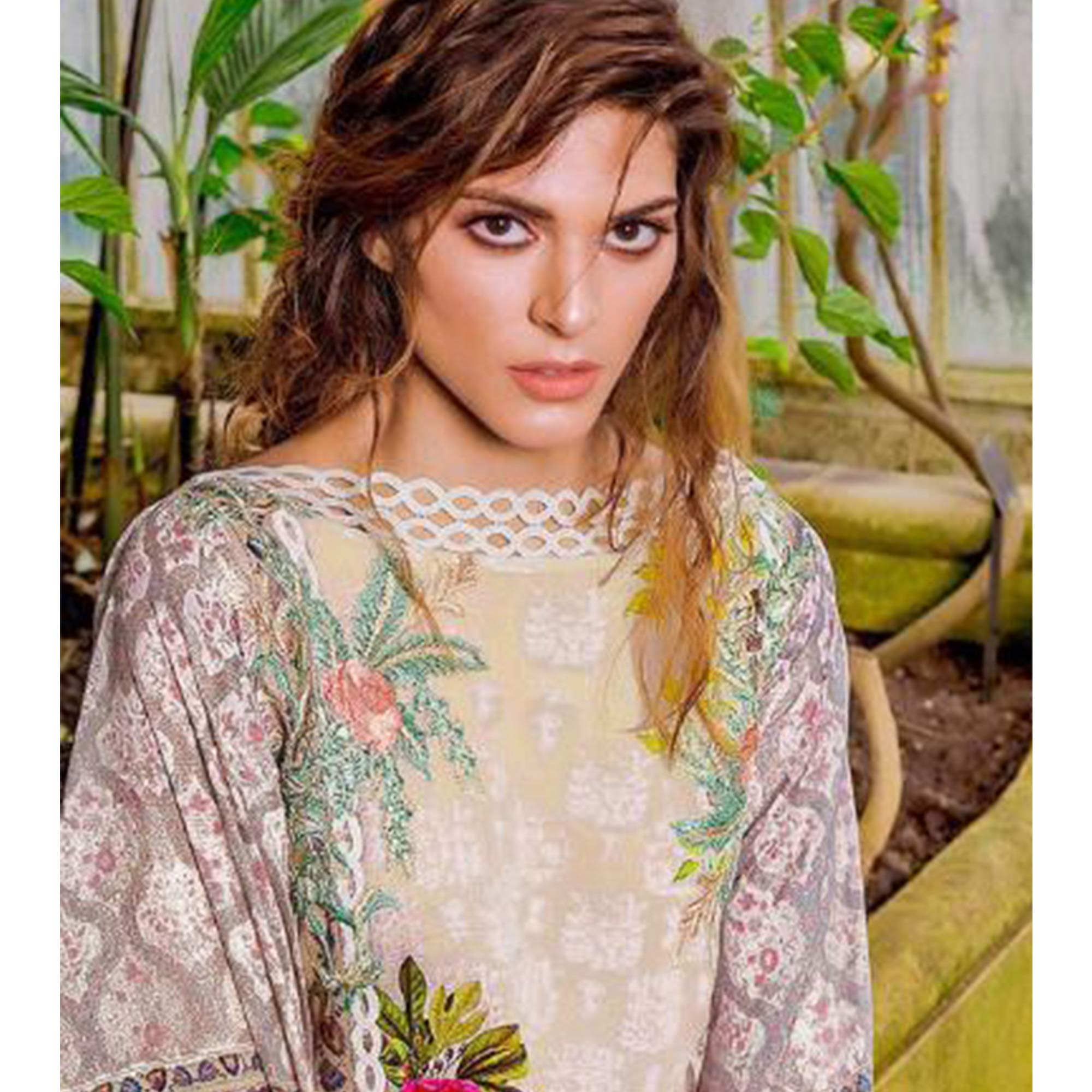 Engrossing Dark Brown Colored Partywear Embroidered Cotton Pant Style Suit