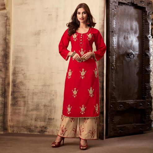 Ideal Red Colored Casual Wear Embroidered Rayon Kurti Palazzo Set