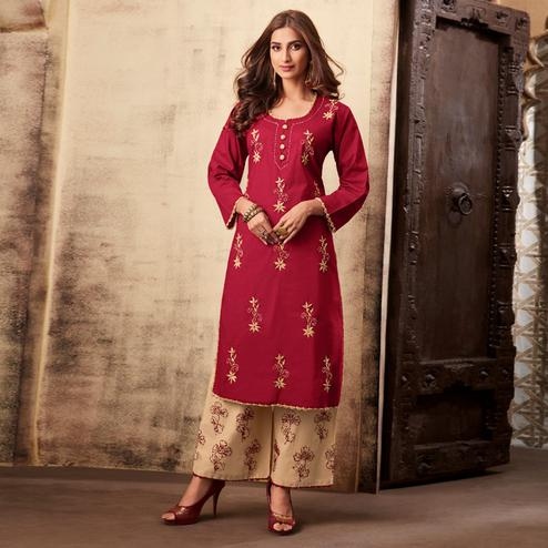 Imposing Maroon Colored Casual Wear Embroidered Rayon Kurti Palazzo Set