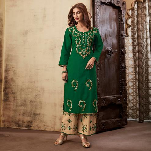 Lovely Green Colored Casual Wear Embroidered Rayon Kurti Palazzo Set
