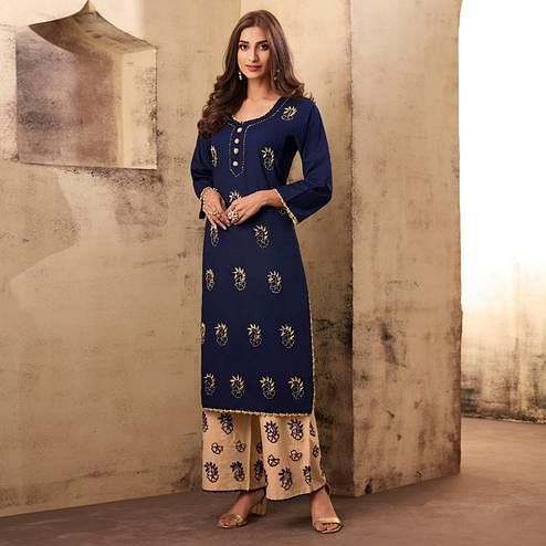 Majesty Navy Blue Colored Casual Wear Embroidered Rayon Kurti Palazzo Set