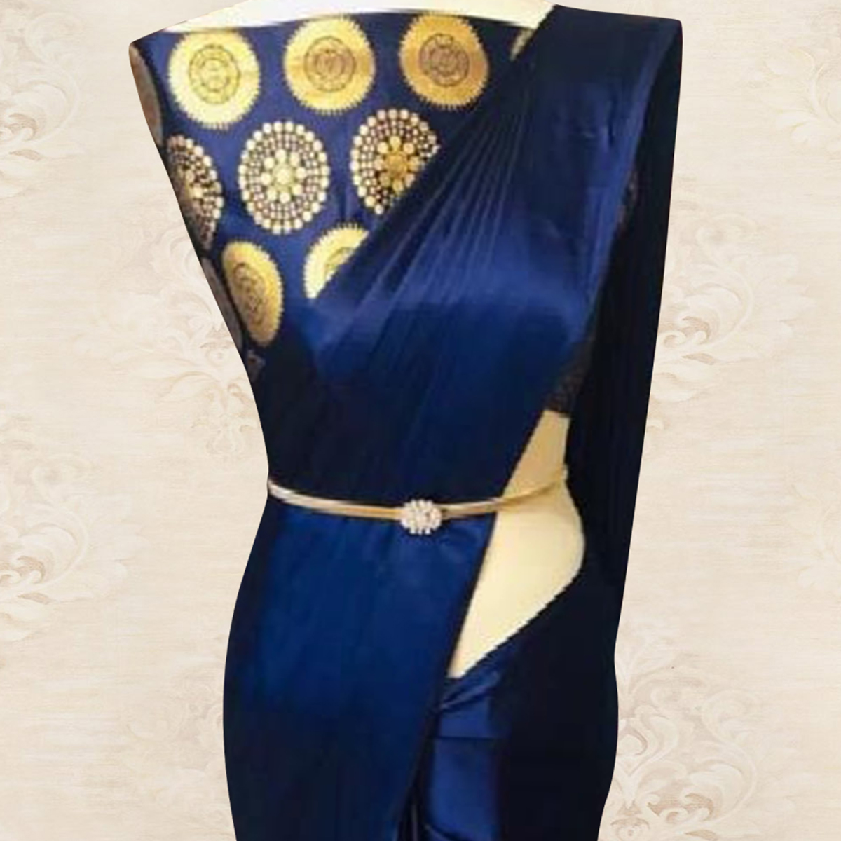 Sophisticated Navy Blue Colored Party Wear Satin Saree