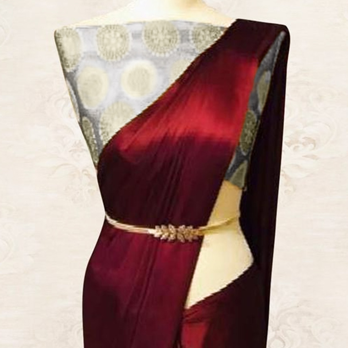 Prominent Maroon Colored Party Wear Satin Saree