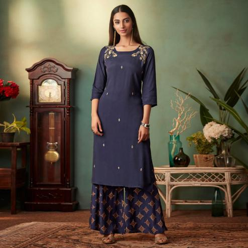 Ravishing Navy Blue Colored Partywear Embroidered Muslin Crepe Silk Palazzo Suit