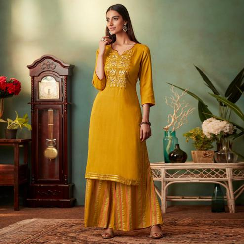 Pleasance Mustard Yellow Colored Partywear Embroidered Muslin Crepe Silk Palazzo Suit