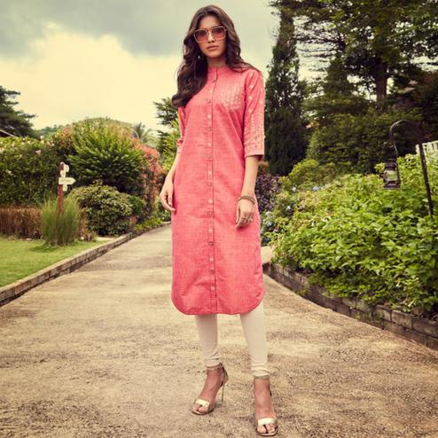 Alluring Pink Colored Partywear Embroidered Cotton Slub Kurti-Pant Set