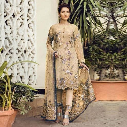 Entrancing Beige Colored Partywear Embroidered Georgette Pant Style Suit