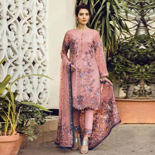 Capricious Pink Colored Partywear Embroidered Georgette Pant Style Suit
