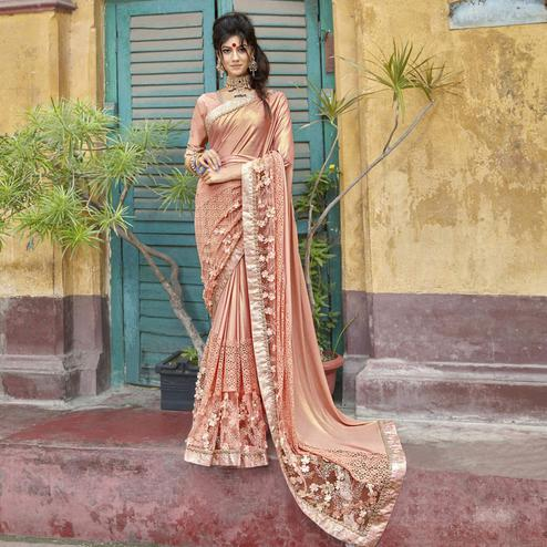 Jazzy Peach Colored Partywear Embroidered Lycra Saree