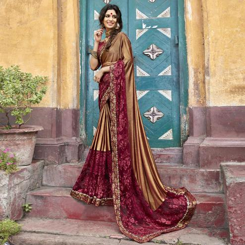 Engrossing Rust Brown Colored Partywear Embroidered Lycra Saree