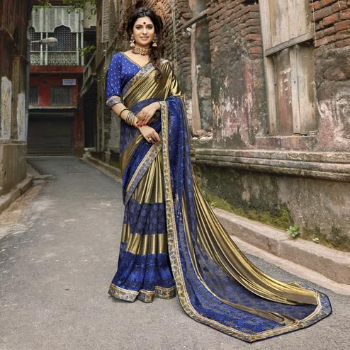Eye-catching Golden-Blue Colored Partywear Embroidered Lycra Saree