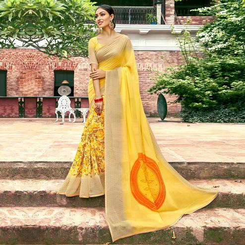 Amazing Yellow Colored Casual Printed Georgette Half-Half Saree