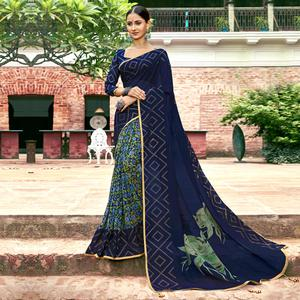 Blissful Navy Blue Colored Casual Printed Georgette Half-Half Saree