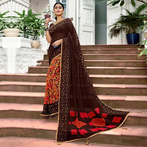 Imposing Brown Colored Casual Printed Georgette Half-Half Saree