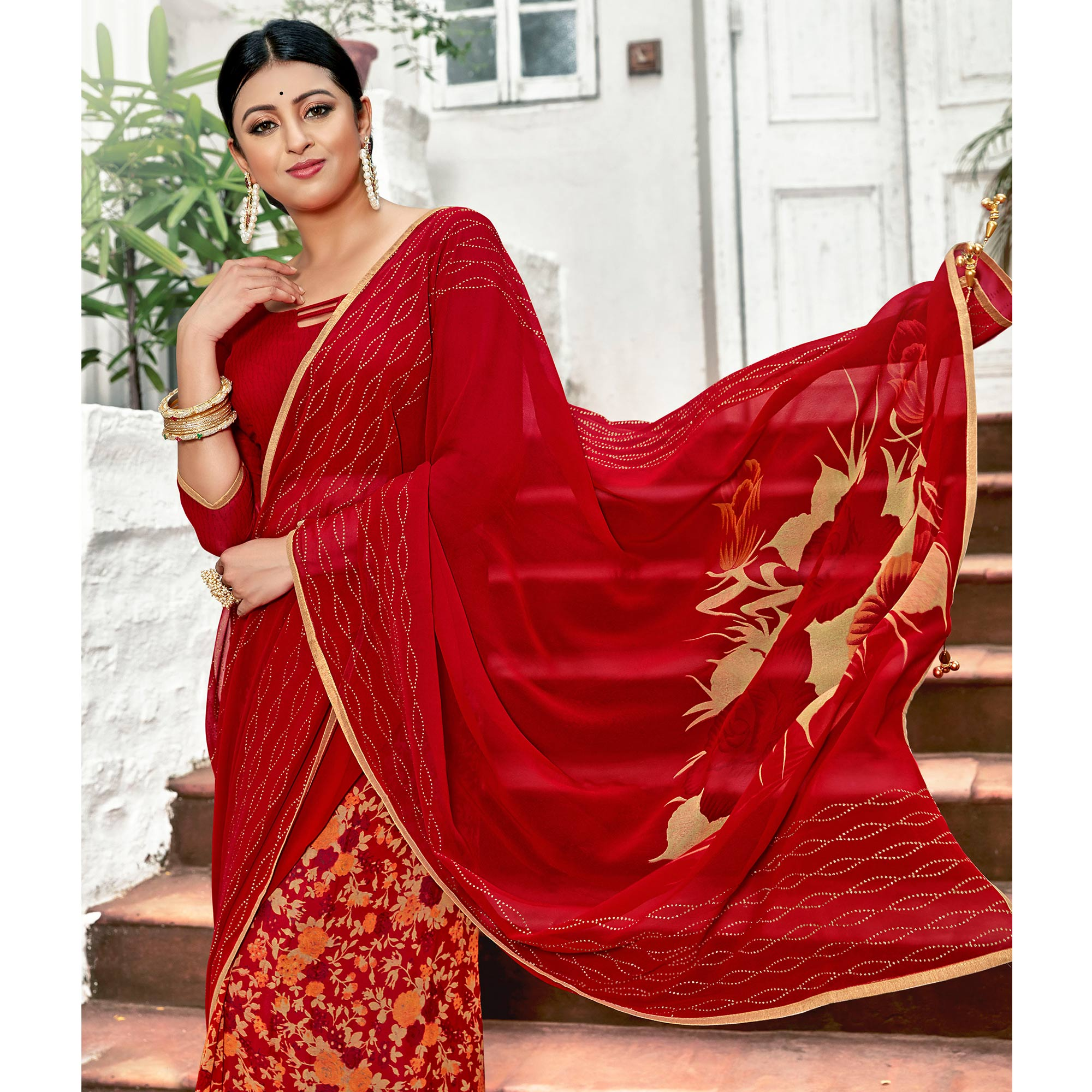 Lovely Red Colored Casual Printed Georgette Half-Half Saree