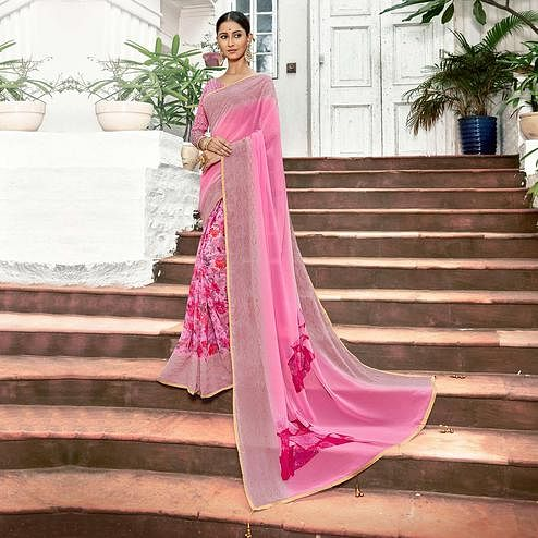Majesty Pink Colored Casual Printed Georgette Half-Half Saree