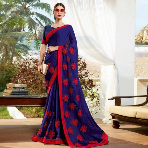 Magnetic Blue Colored Partywear Embroidered Georgette Saree