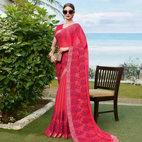 Hypnotic Pink Colored Partywear Embroidered Georgette Saree