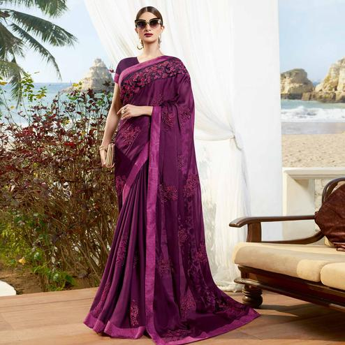 Preferable Purple Colored Partywear Embroidered Georgette Saree