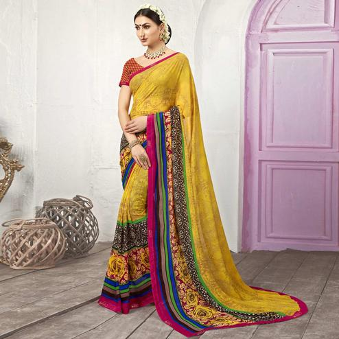 Yellow Colored Casual Printed Georgette Saree