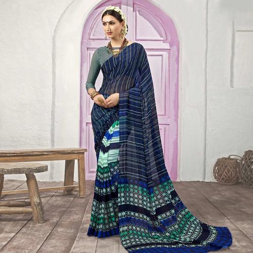 Innovative Navy Blue Colored Casual Printed Georgette Half-Half Saree
